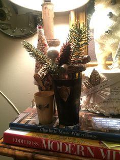 Christmas  Bar Horn Cup Vignette Christmas Vignette, Winter House, Vignettes, Horns, Planter Pots, Snow, Bar, Modern, Horn