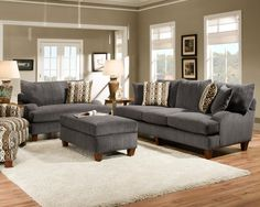 Alluring Living Room Ideas With Gray Sectional Sofa Plus White Fur Rug On Laminate Wooden Floor Plus Ottoman Coffee Table