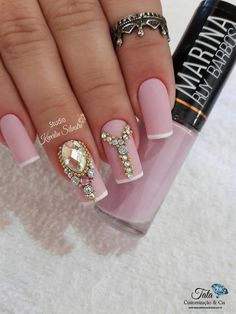 Newest Decorated & Pink Nail Art , And for those that love pink enamel and every one its nuances, nowadays we tend to bring stunning nails adorned Baby Pink Nails Acrylic, Pink Nail Art, Purple Nails, Bling Nails, Matte Nails, Stiletto Nails, Gel Nails, Acrylic Nails, Nail Polish