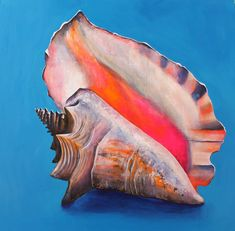 Paintings By Tracy Effinger Upton: Conch Shell on Brilliant Blue