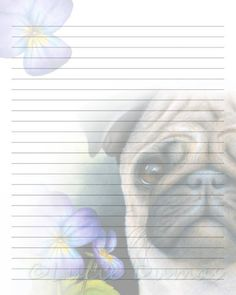 Digital Printable Journal Page Dog 133 Pug Flower Stationary 8x10 Download Scrapbooking Paper Template art painting L.Dumas by DigitalsbyLucie on Etsy