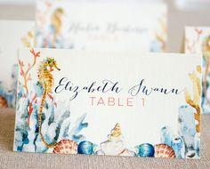 Watercolor Seahorse Wedding Reception tented by SunshineandRavioli