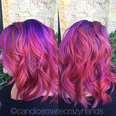 Sunset hair! #colorfulhair #hairideas #sunsethair #pravana #hairgoals