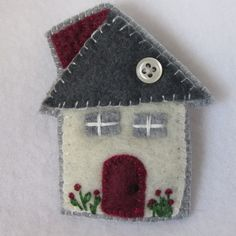 Red Door House Pin Little house Brooch Wool by hart2hartdesigns