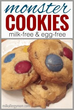 Dairy-free egg-free nut-free peanut-free and possible soy-free monster cookies! See post for safe ingredient suggestions. These are incredible for food allergy kids! Dairy Free Cookies, Dairy Free Snacks, Milk Cookies, Dairy Free Baking, Dairy Free Eggs, Egg Free Recipes, Allergy Free Recipes, Allergy Recipe, Cookie Recipes