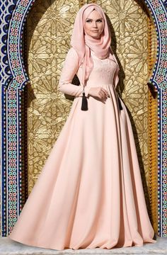 Muslima Wear Nakışlı Elbise 35001 Pudra