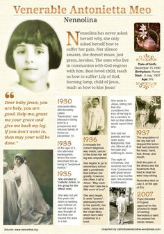 Venerable Antonietta Meo ~ What a beautiful example for us all on how to accept suffering and offer it to God with the innocent faith of a child. Ven. Nennolina, ora pro nobis. Amen.