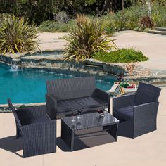 4 PC Rattan Patio Furniture Set Garden Lawn Sofa Wicker Cushioned Seat Black New