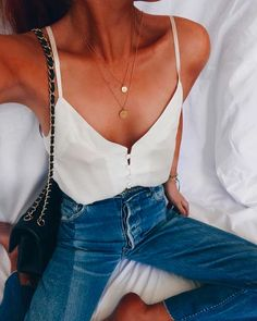 silk tank + high waisted denim