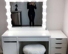 XL Hollywood vanity mirror- 43 x -makeup mirror with lights-Wall hanging/free standing-Perfect for IKEA Malm vanity -BULBS not included Cute Room Decor, Teen Room Decor, Room Ideas Bedroom, Bedroom Decor, Ikea Vanity, Vanity Room, Vanity Decor, Vanity Ideas, Vanity For Bedroom