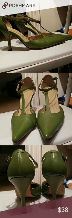 "Terry Lewis Green Heels! These good-looking shoes look great on!  Apple green pointed toe t-strap heels r approx 3 3/4"". Terry Lewis Shoes Heels"
