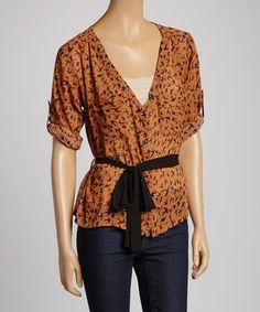 Orange & Black Bird Sheer Button-Up Top #zulily #zulilyfinds