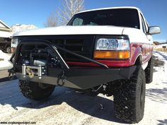 Does your Ford Bronco or Truck need a new RockSolid Prerunner Front Winch Bumper? We've got it here at Bronco Graveyard. Shop online for all your Ford Bronco and Truck parts and accessories today! Ford Bronco Truck, Car Ford, Ford Trucks, Lifted Trucks, Pickup Trucks, Off Road Bumpers, Winch Bumpers, Truck Mods, Truck Parts
