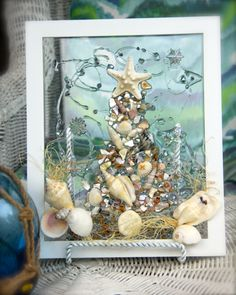 Seashell Christmas Tree Wall Hanging for Christmas at the Beach, Beach Theme Christmas Tree Glass Art, Nautical Christmas Shell Art by SeaSideCreations1 on Etsy