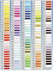 Copic Sketch colour chart