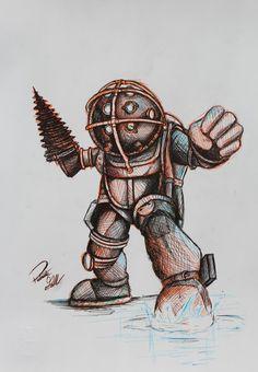 Big Daddy Pen Sketch by ~Pajaga on deviantART