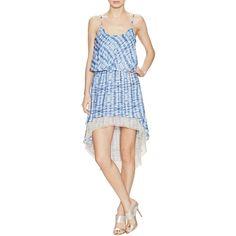 T-Bags Los Angeles Tie Dye Mesh Trim Dress ($40) ❤ liked on Polyvore featuring dresses, multi, mullet dress, mixed print dress, elastic waist dress, hi low dress and scoop neck dress