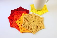 *This listing is crochet PATTERN ONLY, not the finished items.*  Crochet Coasters Mosaic Flower Crochet Pattern Instant Download PDF file with detailed step-by-step easy to follow instructions written in English (only), in American crochet terms.  Skill level: Easy. Finished Size approximately: 5.3/4 in (14.5 cm) in diameter. Materials needed: crochet hook 2.0 - 2.5 mm (B-1, C), cotton yarn 4 ply. Use any colors you like! :) Great opportunity to use odds and ends of yarn. :) Enjoy your ...