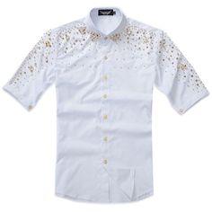 Men White Studded Short Sleeve Punk Rock Hipster Fashion Casual Shirt SKU-11407001