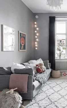 Stylish and cosy nursery in subtle shades of grey - Paul & Paula Childrens Bedrooms, Interior Inspiration, Baby Room Decor, Apartment Living Room, Bedroom, Pretty Apartments, Stylish Rugs, Bright Rooms, Home Decor