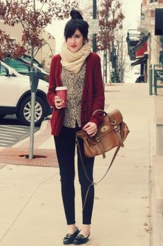 Autumn tones, printed shirt, red wine cardigan, scarf, skinny jeans, neutral bag.