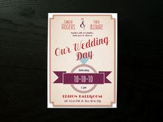 Retro wedding invites