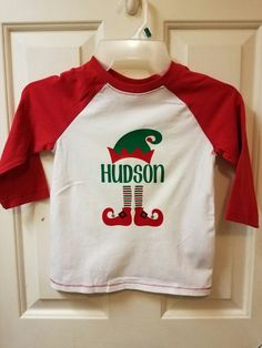 b6f88983d Boys Personalized Christmas Elf Shirt | Heat Transfer Vinyl Cut with Cricut