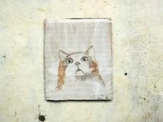 cat little portrait on cardboard original mixed media by vumap