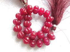 """10"""" long strand Red Quartz Carved Round Beads,Mughal Carved Melon Beads,Carvin Beads,Jewelry making beads by InternationalByBeads on Etsy"""