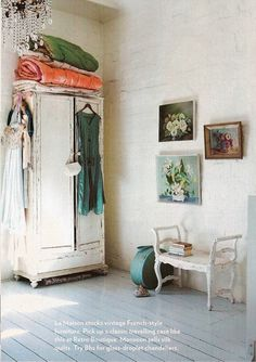Antique wardrobe, which Lyn Gardener has decorated with clothes and quilts #armoire #dressing_room #fashion_as_decor #French_country #shabby_chic #vintage