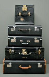 Vintage American Black Leather Suitcase www.fanshaweblaine.com #fanshaweblaine