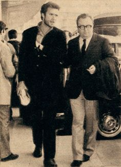 Clint Eastwood et Sergio Leone, Madrid, april 1964.