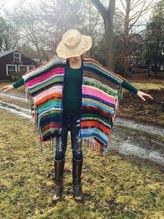 Crocheted Women's Bohemian Poncho Boho Poncho by DCCreates on Etsy