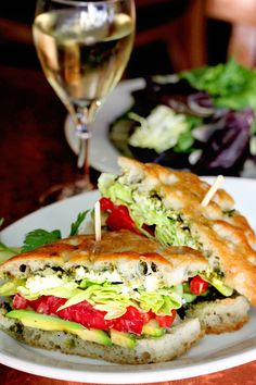 Tomato-Avocado Sandwiches with basil pesto, Laurel Chenel goat cheese, and Butter Leaf lettuce on fresh Focaccia bread from the Paragary Bakery. ~Food photos from Cafe Bernardo Midtown in Sacramento, CA~
