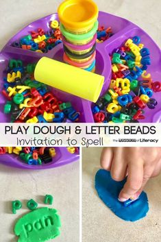 This Play Dough Letters Spelling Activity not only works fine motor muscles but it challenges our students to practice spelling words in a whole new way! Playdough Activities, Spelling Activities, Kindergarten Literacy, Alphabet Activities, Early Literacy, Preschool Learning, Kindergarten Activities, Fun Learning, Toddler Activities