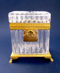 Antique French Cut Crystal casket with Dore Bronze Mounts