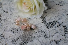 Bridal comb pearl freshwater mulberry parchmnet roses by LolaBosco, $25.00