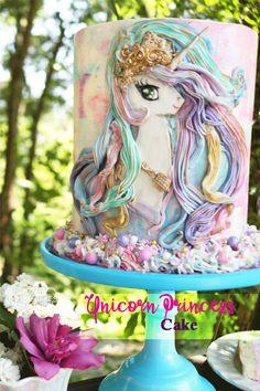 How to Make a Unicorn Princess Cake via BB Bakes Sugar Art Unicorn Birthday Parties, Unicorn Party, Unicorn Cakes, Cake Birthday, Mini Cakes, Cupcake Cakes, Pony Cake, Unicorn Princess, Salty Cake