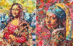 Репродукции мировой живописи, сделанные из клейкой ленты.