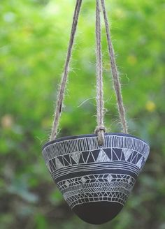 Made to Order // Geometric Tribal Design Black and White Carved Hanging Planter // Succulent Planter