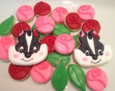 Skunk and Roses - SWEET! - Decorated Sugar Cookies by I Am The Cookie Lady