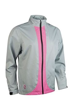Sunderland Ladies' Contrast Color Lightweight Waterproof Golf Jacket-Silver/Pink-XL