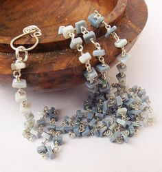 Blue opal necklace square heishi opal necklace long