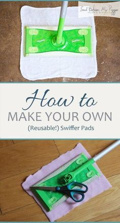 How to Make Your Own (Reusable!) Swiffer Pads You can't miss this DIY cleaning hack. It's easy to make your own DIY swiffer pads. Diy Home Cleaning, Homemade Cleaning Products, Household Cleaning Tips, Cleaning Recipes, House Cleaning Tips, Cleaning Hacks, Household Cleaners, Swiffer Pads, Swiffer Refill