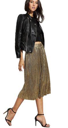 Gold metallic pleated skirt – FUNK on Rose