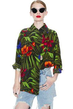 Tropic Vibes Silk Blouse