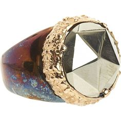 Federica Rettore Chevalier Pyrite Ring ($1,250) ❤ liked on Polyvore featuring jewelry, rings, accessories, clothing & accessories, women, pyrite ring, 18 karat gold jewelry, pyrite jewelry, 18 karat gold ring and 18k ring