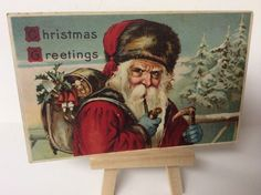 Old Santa Claus Red Robe Postcard With Blue Gloves Smoking Pipe #Christmas