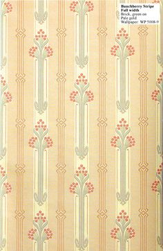 Craftsman reproduction wallpaper: Bunchberry Stripe. Suitable for homes from 1900 to 1920. $145 per double (33') roll.