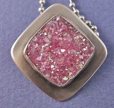 Pink square drusy sterling silver pendant by CindyTurnerDesigns